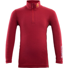Aclima WarmWool Sweat-shirt Col roulé avec zip Enfant, chili pepper/olive night